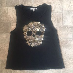 Express One Eleven sequined skull tank